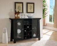 Wood Buffet Bar Cabinet with Wine Rack Storage - New! in Joliet, Illinois