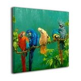 "Colorful Parrots On A Tree Gallery Wrapped Canvas Print    20"" x 16"" in Aurora, Illinois"