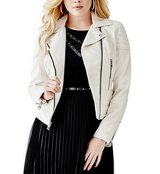 GUESS Natural Pebbled Faux Leather Lined Moto Jacket -Zipper Detail,  MSRP $128 in Joliet, Illinois