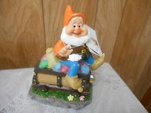 "New Disney Snow White's Dwarf Solar Garden Gnome w/ Treasure Chest! ""HAPPY"" in Bellaire, Texas"
