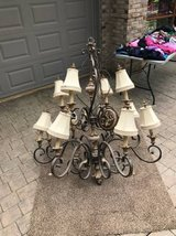 """Large Brass Chandelier - 48"""" W x 56"""" H + Matching Sconce in Lockport, Illinois"""