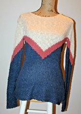 Pink Rose Lightweight Knit Sweater in Navy, Terra Cotta & Natural, Large in Aurora, Illinois
