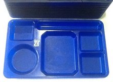 Blue cafeteria Lunch trays 6 compartment for camping Picnic Day-care school $2 each in Clarksville, Tennessee