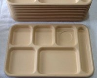 Beige cafeteria Lunch trays 6 compartment for camping Picnic Day-care school $2 each in Clarksville, Tennessee