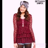 New! Sz Med Aeropostale Bethany Mota Long Sleeve Lace Top / Blouse in Chicago, Illinois