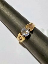 2.5 grams 14k  yg ring with .86ct ceylon natural  lilac sapphire oval 2 diamond in Cleveland, Texas