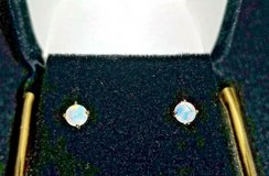 20ct natural multi colored opal earrings 14k solid gold setting . w/ tag in Conroe, Texas