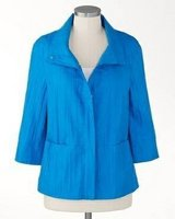 New! Sz: Large - 14 Petite Coldwater Creek Crinkle Gazebo Peninsula Blue Jacket in Orland Park, Illinois