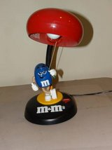 M&M Collectible Talking Desk Lamp Blue Peanut M&M Candy, Red M&M Shade in Joliet, Illinois