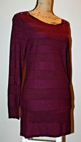 Merlot Colored Long Sleeve Knit Tunic, Shoulder Detail, Patterned Stripe, Medium in Aurora, Illinois