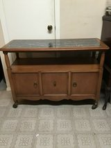 vintage mid century modern wood rolling bar cart, cabinet, tv stand/ cart in Kingwood, Texas