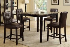 New! Dark Marble Finish Counter Table + 4 Chairs Set FREE DELIVERY in Camp Pendleton, California