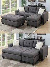 New! Blue Gray Mini Sectional+Ottoman Sofa (other colors FREE DELIVERY in Camp Pendleton, California