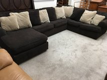 3pc Dark Brown & Beige Upholstered Sectional Sofa in Chicago, Illinois