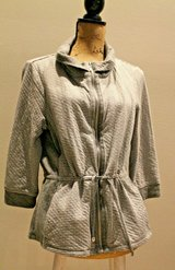 Chico's Collection Zip Front Knit Active Jacket, Gray/White Stripe & Polka Dot in Naperville, Illinois