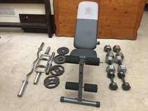 140lbs Dumbells, 40lbs Weight Plates + Weight Bench in Wheaton, Illinois
