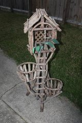 Nice Outdoor Two Plant Planter Made of Tree Cuttings in Kingwood, Texas