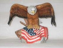 Beautiful Bald Eagle on American Flag Statue - Munro - 1995 - ELNC in St. Charles, Illinois