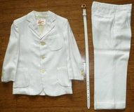 Boys Sz 7 / 8 ? Off White / Ivory Suit Jacket - Pants - Belt in Bolingbrook, Illinois