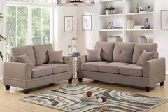 New! Coffee Linen 2-Pcs Sofa Set FREE DELIVERY in Miramar, California