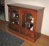 Wood Floor Cabinet with Glass Doors in Naperville, Illinois