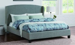 New! Queen Size Adjustable Linen Gray Winged Bed Frame FREE DELIVERY in Camp Pendleton, California