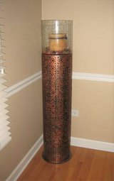 "BROWN PIERCED METAL FLOOR HURRICANE CANDLE HOLDER - 51.5"" - Pier 1 in Chicago, Illinois"