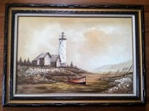 Everett Woodson Painting Oil on Canvas Lighthouse Boat Framed Art in Yorkville, Illinois