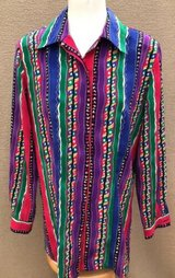 christie jill sz m mulit color striped polyester button blouse shirt top womans in Chicago, Illinois