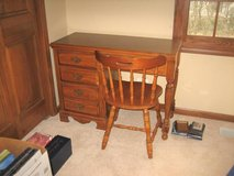 Small Wood Desk - Laminate Top + Chair in Lockport, Illinois