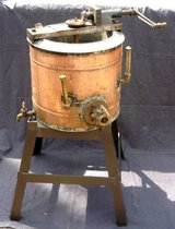 "22"" Antique Copper Hand Crank Double Boiler on Stand in Naperville, Illinois"