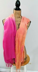 Perfect for Spring -- Women's Oversized Saachi Rayon Scarf in Pink & Orange in Aurora, Illinois