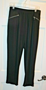 Chico's Gold Label Black Elastic Waist Pants, Zipper Detail, Chico's Sz 2/Lg/12 in Bolingbrook, Illinois