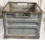 Vintage Pinkerton Metal Milk Crate in Naperville, Illinois