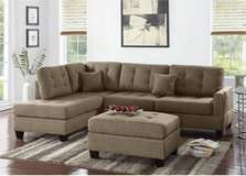 New Coffee Linen Fabric Sectional Sofa and Ottoman FREE DELIVERY in Camp Pendleton, California