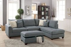 New! Steel Dorris Fabric Sectional and Storage Ottoman FREE DELIVERY in Camp Pendleton, California