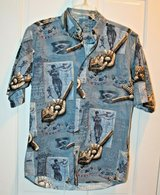 Casual Button Front Blue Shirt, Baseball Motif, Small in Bolingbrook, Illinois