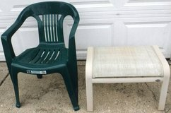 Outdoor Plastic Lawn / Patio Chair + footstool in Bolingbrook, Illinois