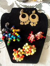 4 pair of vintage costume earrings . funky clip on earrings. in Las Cruces, New Mexico