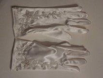 White Embroidered/Beaded Wedding Gloves in Algonquin, Illinois