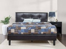 Faux Leather Detail Stitched Full Platform Bed - Minor Damage - New! in Joliet, Illinois