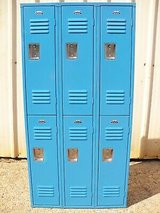 vintage superior blue metal steel gym employee man cave 3 bay 6 lockers locker in Spring, Texas