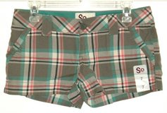 NEW w Tags So Plaid Mini Shorts w Slits Womens 7 Juniors Green Red Ivory in Chicago, Illinois