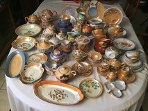 mixed lot hand pained made in japan collectible luster ware tea set plates bowls in Kingwood, Texas