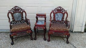 chinese carved solid rosewood marble top table marble back armchairs - a pair in Kingwood, Texas