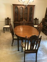 8 piece vintage dining room furniture set with 6 chairs, table and china cabinet in Kingwood, Texas