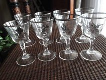 Vtg Pilsner Game bird glasses with silver rims in Alamogordo, New Mexico