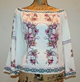 Off the Shoulder Floral Blouse, Bell Sleeves, Polyester, Blue Rain, Small in Westmont, Illinois