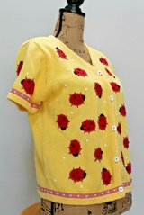 Cute as a Bug - Susan Bristol Yellow SS Button Cardigan w/Appliqued Lady Bugs, Medium in Glendale Heights, Illinois