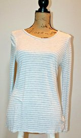 J.Crew White/Gray Stripe Long Sleeve Scoop Neck Tee, Soft & Stretchy, Small in Joliet, Illinois